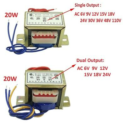 EI57 20W Power Transformer 220V TO 6V/9V/12V/15V/18V/24V/30V/36V AC Single/Dual