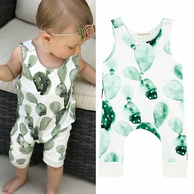 Newborn Infant Baby Girl Boy Cactus Romper Sleeveless Summer Jumpsuit Playsuits