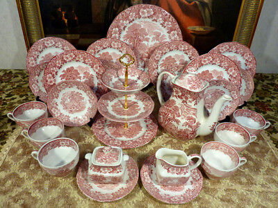 Vintage Kaffeeservice Wedgwood Woodland Made in England 6 P. 29 Teil Rot