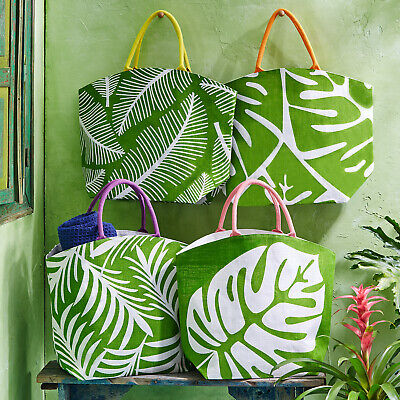 Large Royal Palm Jute Tote Bags in fresh bright colours. 56 x 44cm
