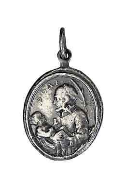 Catholic icon st Irena and Irwin christian pendant medal 228 Solid silver 925