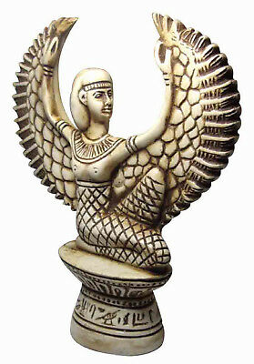 "Egyptian Isis Wings Pharaoh Figurine Statue Ancient Hand Made 7.2"" Sculpture 201"
