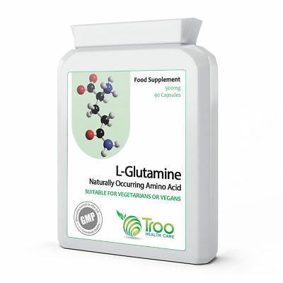 L-Glutamine 500mg 90 Capsules - Muscle Fuel Amino Acid Supplement UK Made to GMP