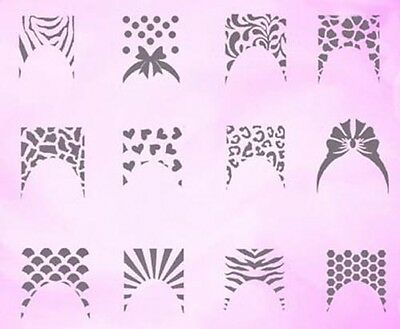 Airbrush French Nail Art Stencil self-adhesive Different motifs plucked 24 pcs