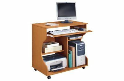 Pine Effect Curved Computer Desk Trolley