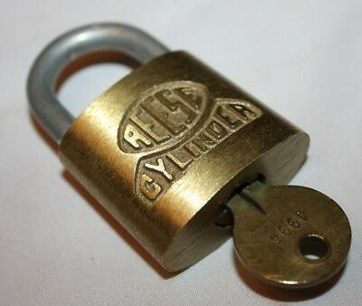 Vintage Reese Cylinder Lock and Key Brass Original Reese Key 4994 Made In USA