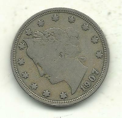 A Vintage Very Good/fine Condition 1907 Liberty Head V Nickel-Sep549