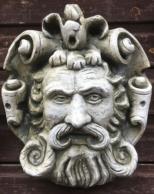 Decorative stone wall plaque face mask neo-classical style Mascaron Jules © 30cm