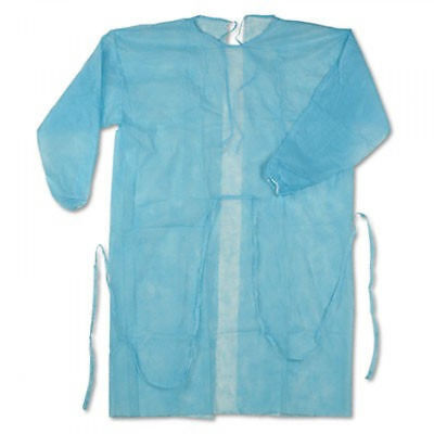 CASE OF 50! Disposable Blue Isolation Gown LG Medical Surgical Protection