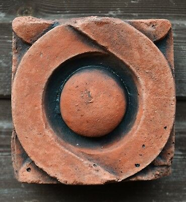 "Victorian decorative brick copy antiqued terracotta wall tile ""Circle""  15cm sq."