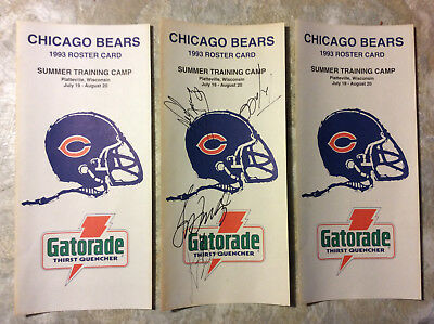 e822614e3c42fa (3) 1993 CHICAGO BEARS Training Camp Roster Cards, 1 AUTOGRAPHED, Neal  Anderson