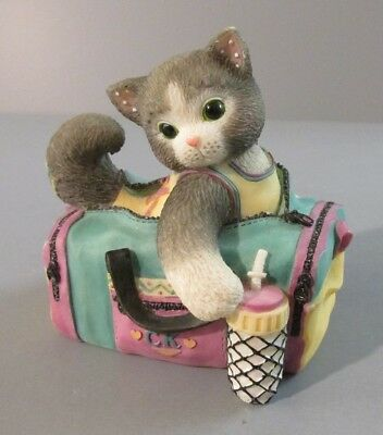 "1998 Enesco Calico Kittens ""Best Buddy"" Kitten Sitting In Gym Bag Figurine"
