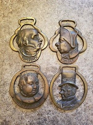 Vintage Brass Horse Medallion Collection of Dickens Characters