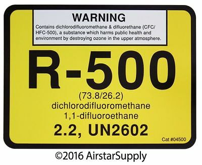 R-500 / R500 difluoromethane UN2602 Refrigerant Label # 04500 , Sold Each