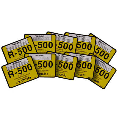 R-500 / R500 difluoromethane UN2602 Refrigerant Label # 04500 , Pack of (10)