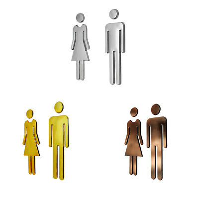 Pair Adhesive WC Sign Toilet Door Wall Sticker Rest Room Washroom Signage Plaque