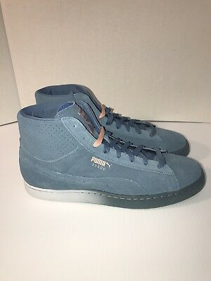 20f5cb8a2d4a PUMA SUEDE PINK Dolphin Collab Blue Pink Mens Shoes Size 11.5 NEW ...