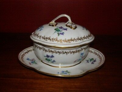 Antique Early 20th Century Sevres Covered Sauce Dish w/ Lid - Floral Decoration