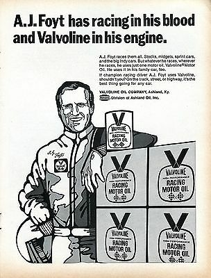 1971 Valvoline Racing Motor Oil A.J. Foyt Has Racing in His Blood Print Ad.