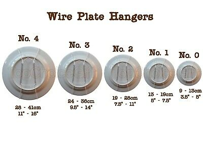 Wall Display Plate Dish White Wire Spring Hanger Holder Hangers Mount  0 1 2 3 4