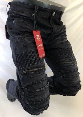 Mens Jean VICTORIOUS Straight Leg BLACK VINTAGE MOTO BIKER ZIPPERS PATCH 1115