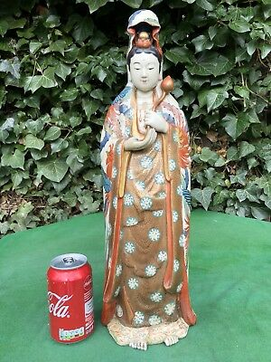 Beautiful Antique Japanese Meiji Ceramic Figure Of Kannon Genzan 48cm