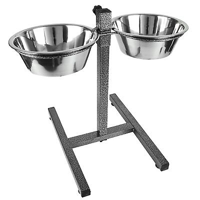Double Stainless Steel Pet Dog Food Water Bowls set with Adjustable Height Stand