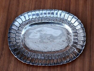 "Sterling Silver 925 Mexican SANBORNS 3-Owl Logo Scalloped 6"" Oval Plate 123g"
