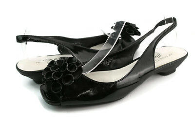 4ad1461a2ca Anne Klein Jarana Women s Black Peep Toe Square Toe Slingback Kitten Pumps  ...