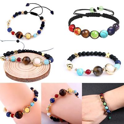 Women & Men Natural Stone Beads Galaxy Planets Solar System Bracelet Bangle