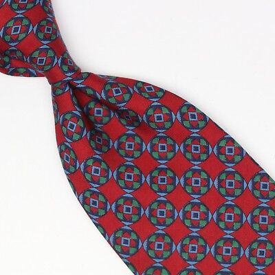 Burberry Silk Necktie Red Blue Green Geometric Check Print Made in USA Tip Wear