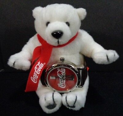 Retired Coca Cola Watch NEW Plush Polar Stuffed Bear 2002 Collectable Brown Band