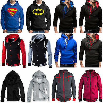 Men Hooded Hoodie Coat Jacket Outwear Sweater Fit Jumper Zipper Pullover Tops US