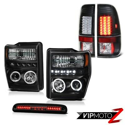 Black LED Headlamps Bulbs Tail Lamps Tinted 3rd Brake 2008-2010 Ford F350 SD