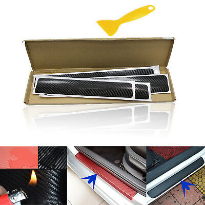 4D Carbon Fiber Stickers Car Door Sill Scuff Welcome Pedal Tool Accessories 4pcs