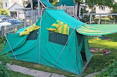 Vintage Large Sears Green Canvas Cabin Tent with canopy 14.5u0027 ... & VINTAGE EUREKA Canvas Top Brookside Cabin Tent Porch Sleeps Four ...