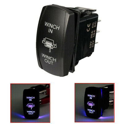 7 Pin Blue LED Laser Momentary Rocker Switch WINCH IN/OUT ON-OFF-ON 20A New