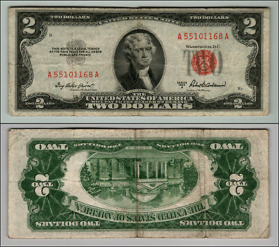 1953A $2 Dollar Bill  Us Note Legal Tender Paper Money Currency Red Seal P802