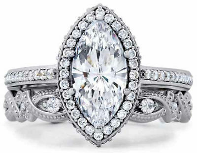 STERLING SILVER Marquise Vintage Style Engagement Ring Set Plus Size 10 / T