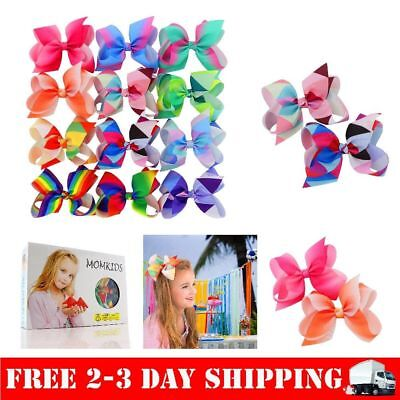 """Large Big 6"""" Boutique Hair Bows Clips For Baby Girls Teen Accessories 12 PCS"""
