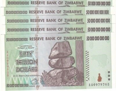 Zimbabwe 50 Trillion Dollars X 2 Pieces, AA/2008, UNCIRCULATED *USA SELLER* ZIM