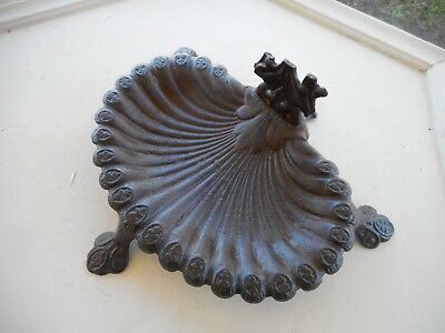 Vintage Antique Footed Ornate Cast Iron Cigar Ashtray SMOKING Stand