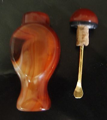 Natural Red Agate Snuff Bottle Special  Hand carving  With  Snuff spoon  Gift