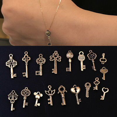 18pcs Vintage Old Look Antique Bronze Skeleton Keys Assorted Pendants Steampunk