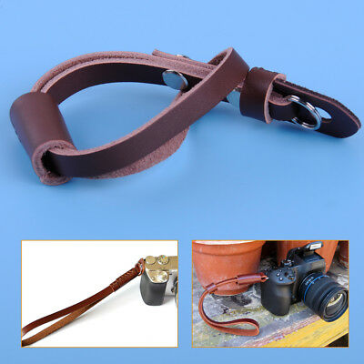 Brown Leather Camera Hand Wrist Grip Strap for Canon Nikon Olympus ILDC Camera