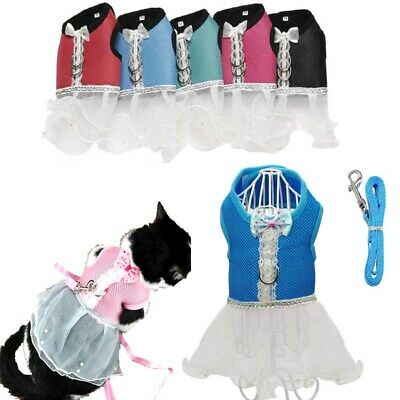 Soft Mesh Pet Control Harness Leash Safety Strap Dog Cat Puppy Tutu Lace Dress