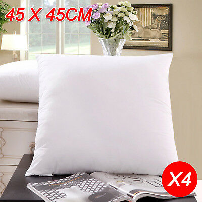 4x Memory Resistant Cushion Pillow Inserts Polyester Filling 45x45cm