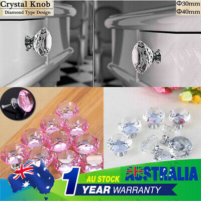 30MM/40MM Diamond Crystal Glass Door Cabinet Drawer Knobs Handles Pulls 2 Colors
