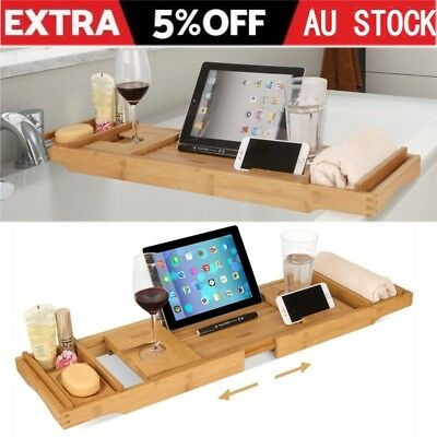 Expandable Bamboo Bath Caddy Wine Glass Holder Tray Over Bathtub Rack Support AU