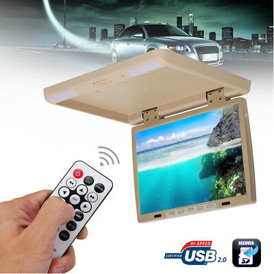 15.4'' Screen Flip Down Roof Mount Monitor Overhead TFT LCD Car DVD HDMI Player